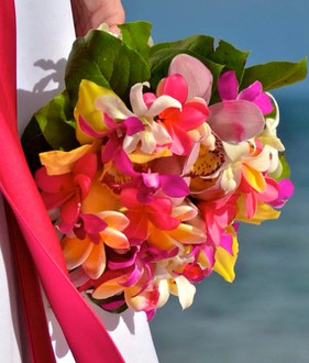 Multicolor plumeria bouquet with orchids
