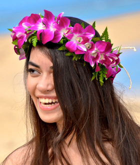Hawaiian head lei in purple