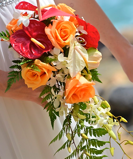 White, red and orange cascading bouquet