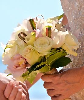 cream roses and pink cymbidium bouquet