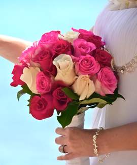 pink and cream rose bridal bouquet