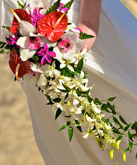 Red anthuriums, cream roses and white cascading orchid bouquet