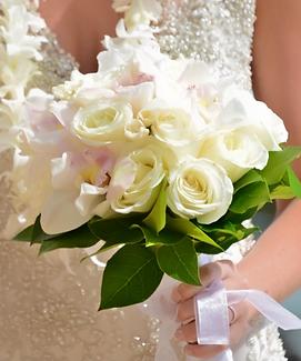 White rose, white cymbidium and tuberose bouquet