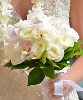 White rose, white cymbidium and tuberose bouquet