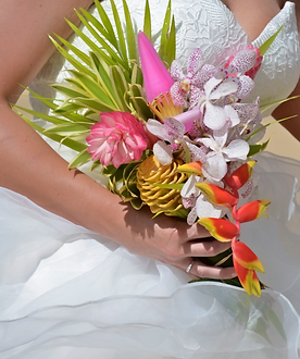 Exotic tropical bridal bouquet with pincushion