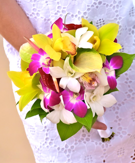 Bouquet of mixed tropical orchids and anthuriums