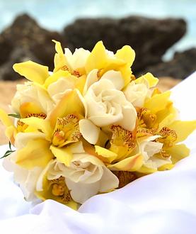 Yellow cymbidium and white rose bridal bouquet