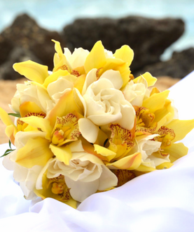 Yellow cymbidium and white rose bridal bouquet
