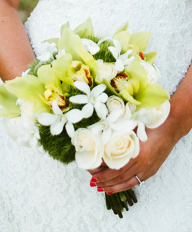 Dianthus, white orchid and cream rose bouquet
