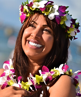 White, green and purple orchid leis