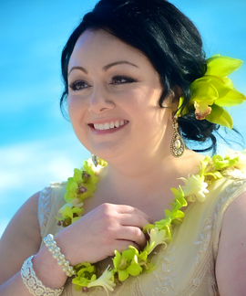 Green orchid leis