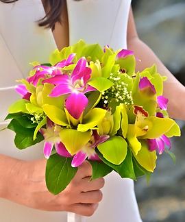 Green cymbidium bridal bouquet