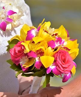Yellow cymbidium and pink rose bouquet