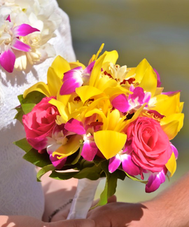 Yellow cymbidium and pink rose bouquet
