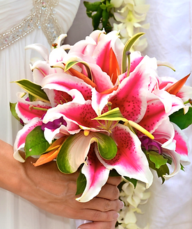 Stargazer lilies and anthuriums with song of India bouquet