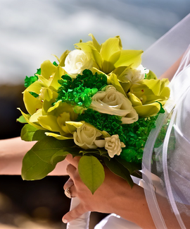 Green cymbidium orchid, cream rose and green hydrangea bouquet