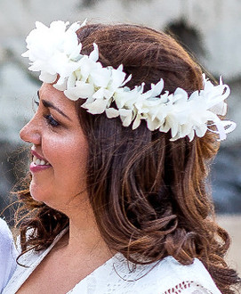 White orchid head lei