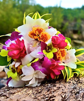 Song of India, red ginger and mixed orchid bouquet
