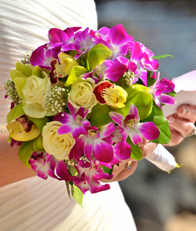 Purple orchid, cream rose and green cymbidium bouquet