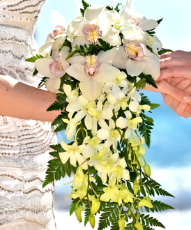 White orchid cascading bridal bouquet