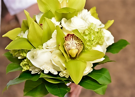 Cymbidium orchid and white rose bouquet