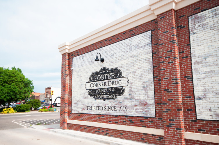 Foster, Corner Store, Drug Store, Pharmacy, Perry, Oklahoma, downtown, brick, fountain, apothecary, architecture, historic, engineering, planning, interior design, Spur Design, commercial, portfolio