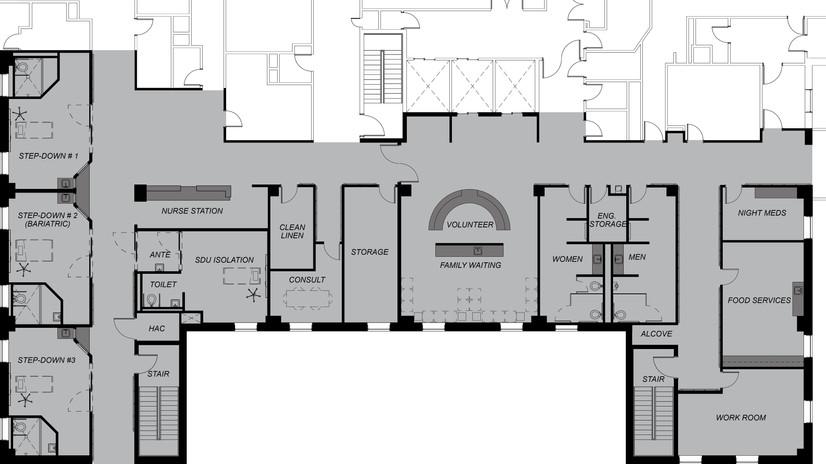 renovate, medical ward, VA, medical center, amarillo, texas, spur design, renovation, construction, rebuild, surgical, inpatient, ICU, architecture, interior design, engineering, planning