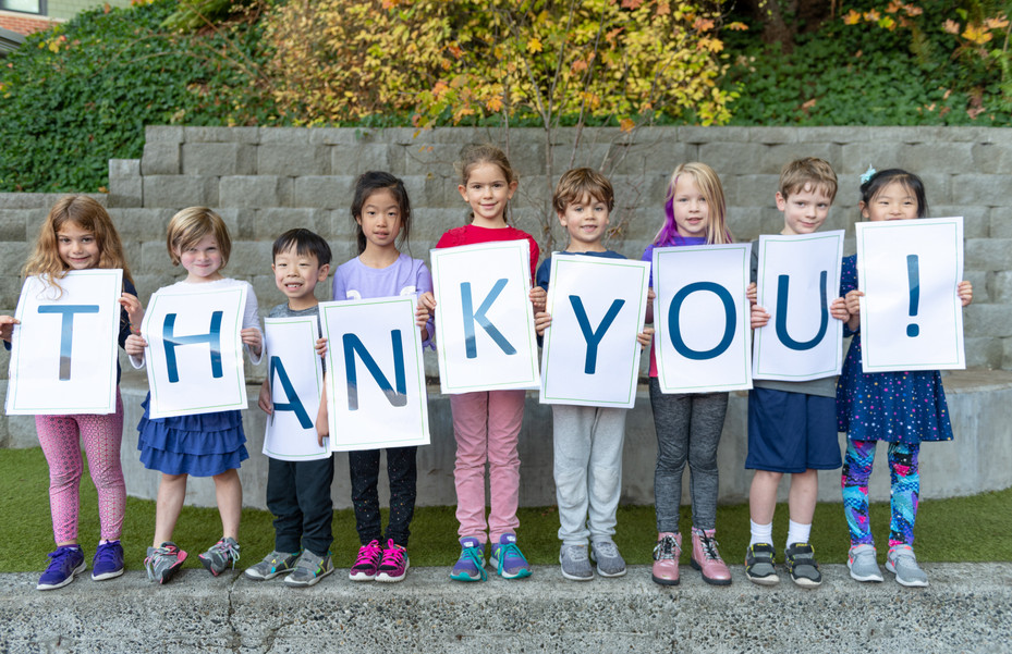 Seattle Day Country School Students Holding Thank You Sign