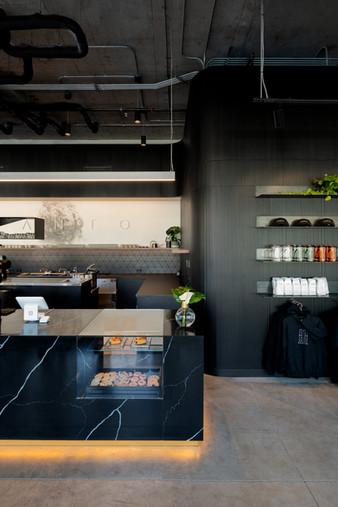 Santo Coffee Interior Black Marble Counter