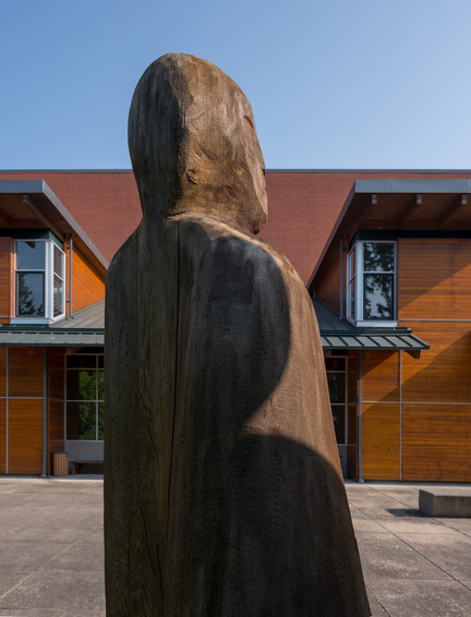 Olympic College Exterior Campus Wood Art Figures