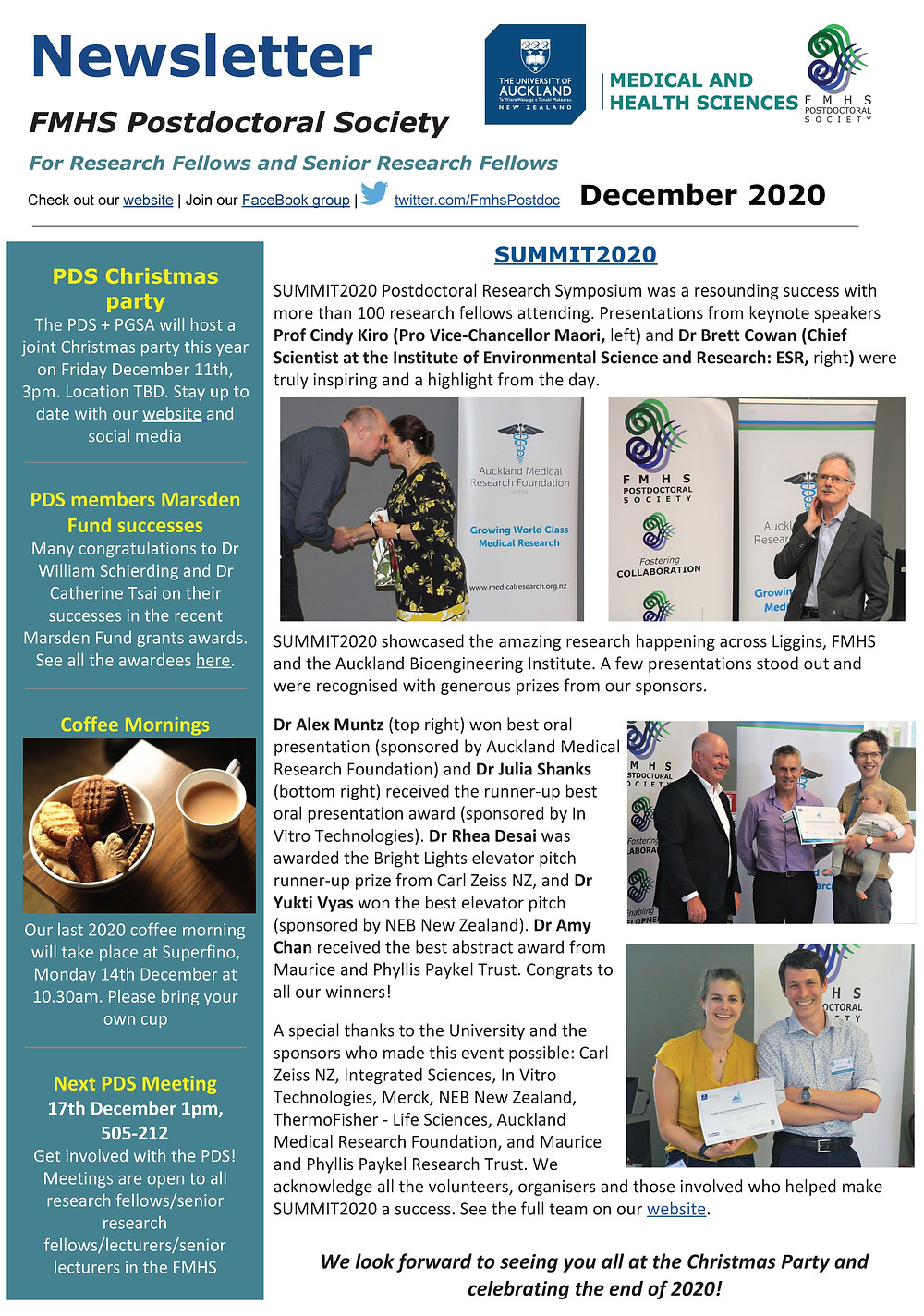 And image of the FMHS Postdoctoral Society newsletter which is available in PDF form at link below