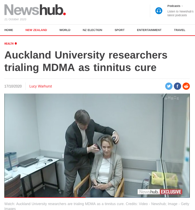 Screenshot of Newshub website featuring video interview with A/Prof Searchfield and tinnitus patient