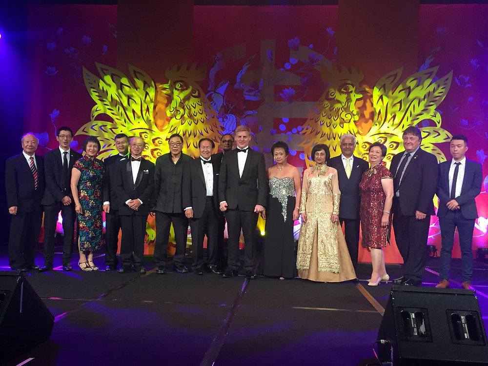 Harbourside Rotary Club members with then-Prime Minister Bill English at the 2017 Chinese New Year Ball