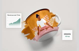 Print on demand mug with sales statistics