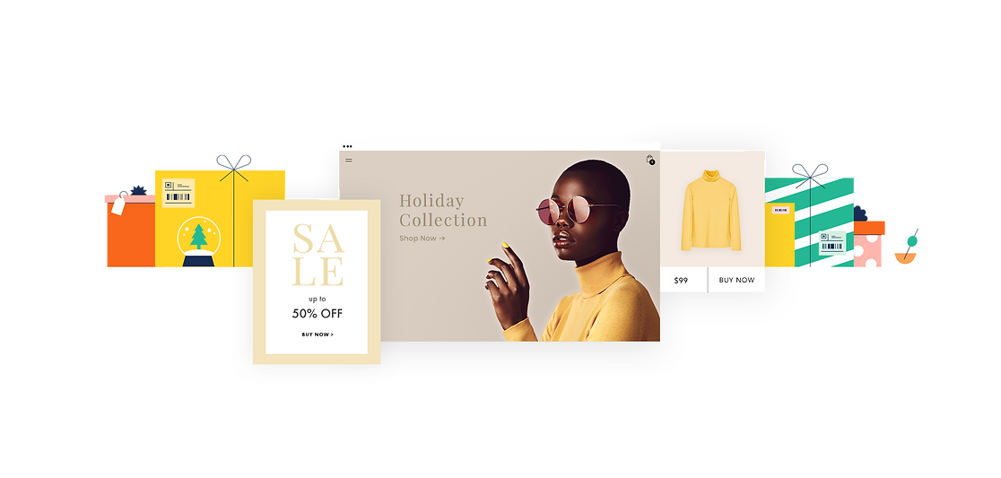 2020 holiday season sales with storefront featuring holiday collection and yellow sweater product.