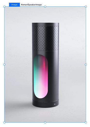 A screenshot from the Velo platform showing a component, which is an image of a product. The product is a black, standing cylindrical smart home speaker with cylindrical hole with green and pink light rays