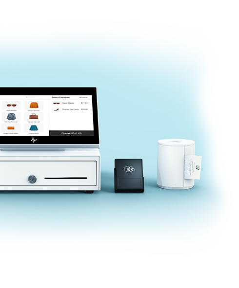 Wix's Complete Retail POS Package, including Wix POS tablet, Wix POS software, barcode scanner, cash drawer, receipt printer and card reader.