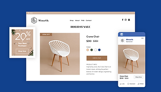 Furniture online store with storefront displaying white chair, sale notice and Facebook Ad.