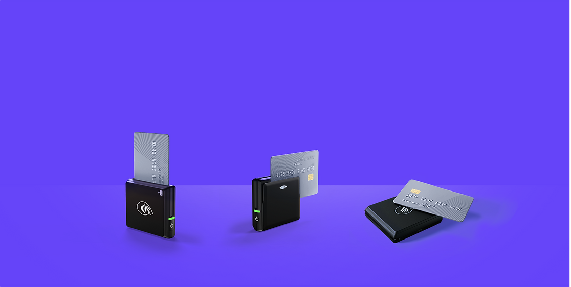 Wix Mobile POS card reader accepting 3 ways of payment:Dip,Swipe & Tap
