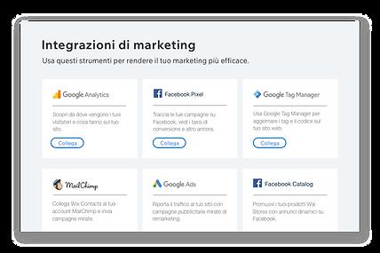 Icone e descrizioni di 6 popolari strumenti di marketing