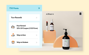 A member's area of an online skin care store offering points to loyal customers.