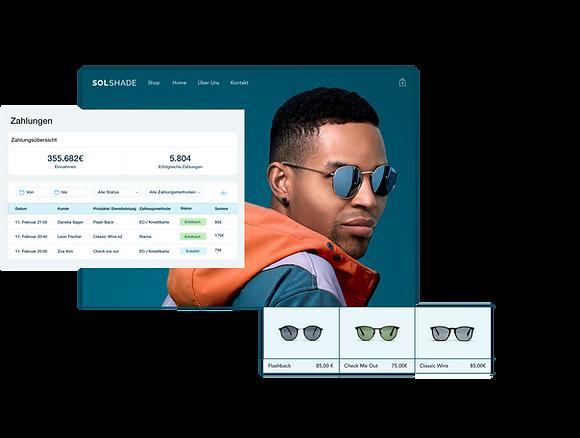 SolShade Online-Shop für den Einzelhandel mit Wix Verwaltung -Zahlungsübersicht, Storefront mit stilbewusstem Mann und Produktgalerie mit 3 Sonnenbrillen.
