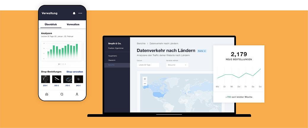 Analysen und Auswertungen für ein eCommerce-Geschäft mit Anzeigen von Datenverkehr nach Ländern sortiert; einer Tabelle mit neuen Bestellungen und einer mobilen Ansicht der Analytics Verwaltung.