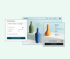 Online-Shop für Inneneinrichtung, Zahlungsmöglichkeit von Wix- und Produktseite für orangefarbene Vasen.