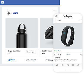 Facebook and Instagram sales channels for cycling online store.