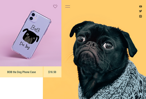 Print on demand phone case sold by a dog-themed influencer and content creator