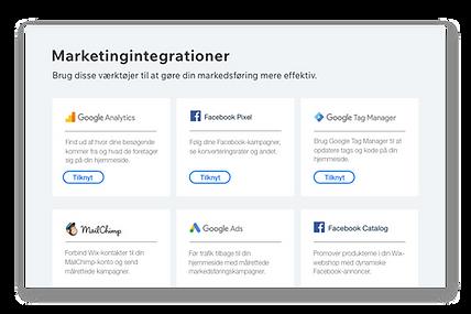 Ikoner og beskrivelser af seks populære marketingværktøjer.
