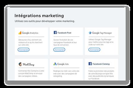 Icônes et descriptions de 6 outils marketing populaires