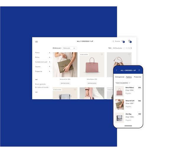Tienda online de carteras y gestión de pedidos desde la app de Wix Owner.