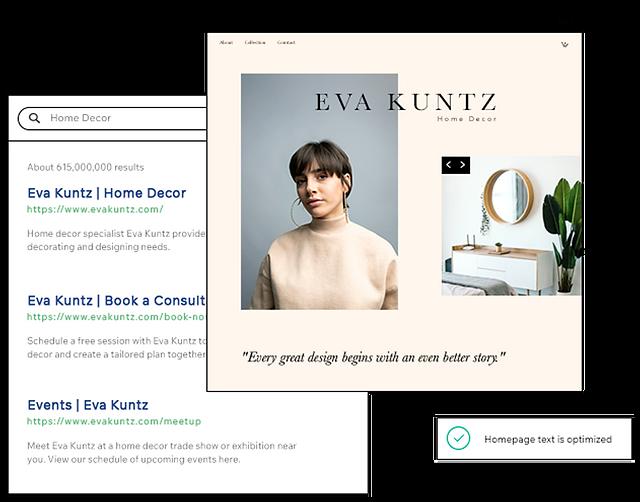 Google検索結果ページとホームインテリア専門家Eva Kuntzの写真が掲載された彼女のホームページ。